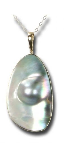Mother of Pearl & Pearl-Seed Gold pendant